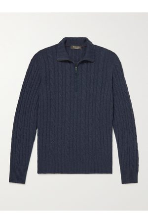 Loro Piana Suede-Trimmed Cable-Knit Baby Cashmere Half-Zip Sweater