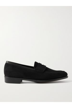 GEORGE CLEVERLEY Bradley III Leather-Trimmed Pebble-Grain Suede Penny Loafers