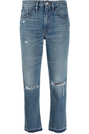 Frame Distressed mid-rise cropped jeans