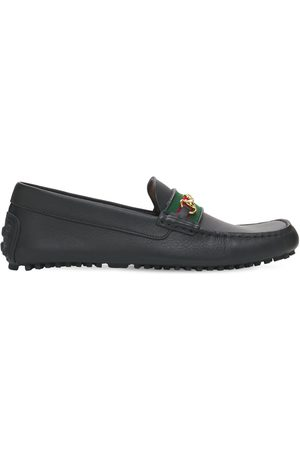 Gucci Men Loafers - 10mm Web Leather Driver Loafers