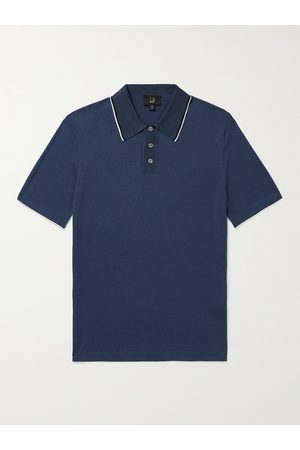 DUNHILL Men Polo Shirts - Mulberry Silk-Trimmed Cotton Polo Shirt