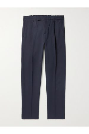 DUNHILL Men Pants - Tapered Pleated Cotton and Mulberry Silk-Blend Trousers