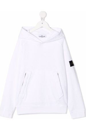Stone Island Girls Jumpers - Logo-patch pullover hoodie