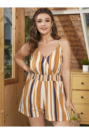 YOINS Women Playsuits - Plus Size Spaghetti Striped Shirring Crossed Front Design Playsuit