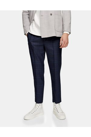 Topman Stretch skinny joggers in navy check