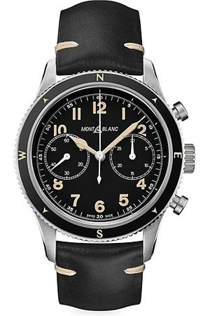 Mont Blanc 1858 Stainless Steel & Leather Strap Chronograph Watch