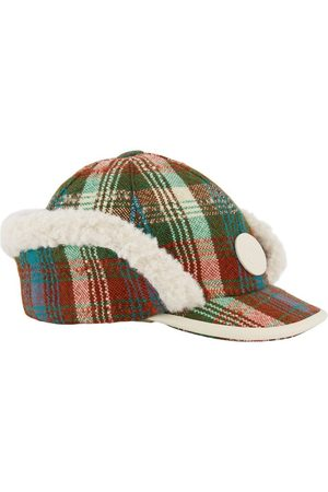 Gucci Hats - Kids - Brown & Blue Check Cap with Ear Flaps - Unisex - S (52cm) - - Trapper hats