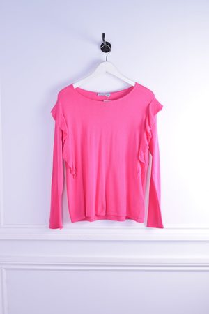 Repeat Cashmere Frill Trim Long Sleeve Knit