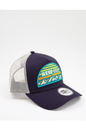 New Era Outdoor patch trucker hat in and white