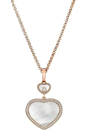 Chopard Happy Diamonds Happy Hearts 18K Rose Gold, Diamond & Mother-Of-Pearl Pendant Necklace