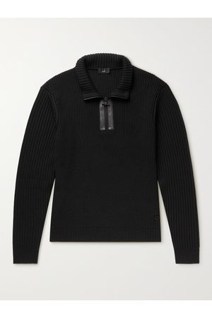 Dunhill Men Leather-Trimmed Ribbed Wool Half-Zip Sweater