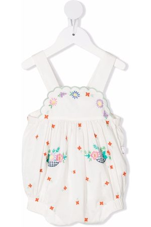 Stella McCartney Girls Dungarees - Floral embroidered scallop trim dungarees