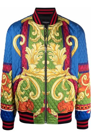 VERSACE Baroque-print quilted bomber jacket