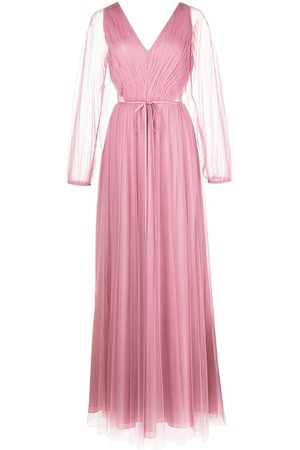 Marchesa Notte Women Party Dresses - Puff-sleeve sheer-panel gown