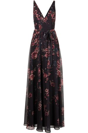 Marchesa Notte Floral-print V-neck sleeveless gown