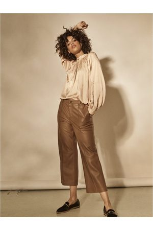 Mos Mosh Como Leather Straight Trouser Colour: Toasted Coconut