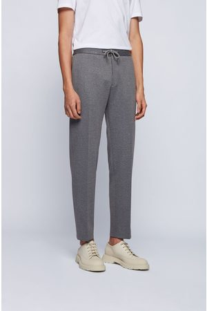 HUGO BOSS BANKS4-J Grey Micro-Patterned Slim-Fit Trousers with Drawstring Waist 50450442