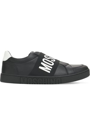 Moschino Men Sneakers - Logo Leather Low Top Sneakers