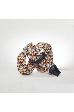 Anderson's Andersons Woven Textile Belt - Navy/ /White/Yellow/Pink 3.5cm