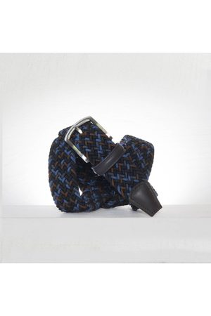 Anderson's Andersons Woven Textile Belt - Navy/ /Brown/Blue 3.5cm