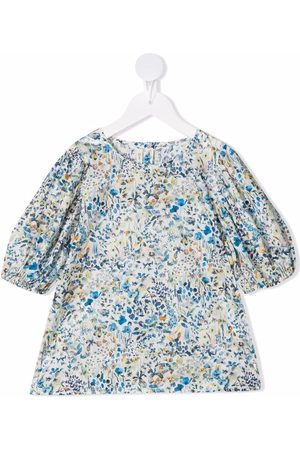 Zhoe & Tobiah Girls Blouses - Floral-print puff-sleeve blouse
