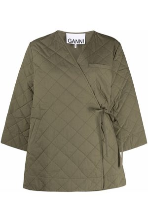 GANNI Crop-sleeve quilted coat