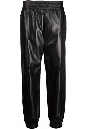 Alexander McQueen Women Leather Pants - Elasticated leather trousers