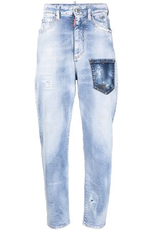 Dsquared2 Women Tapered - Logo-patch distressed-effect tapered jeans