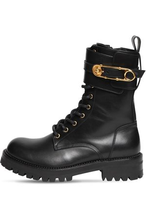 VERSACE 40mm Leather Combat Boots