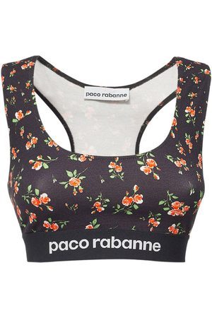 Paco rabanne Women Tops - Printed Logo Stretch Jersey Top
