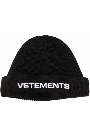 Vetements Beanies - Embroidered-logo ribbed beanie