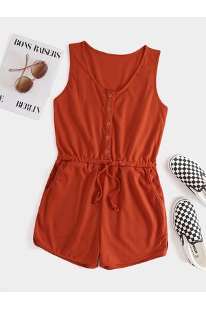 YOINS Round Neck Front Button Side Pocket Sleeveless Playsuits