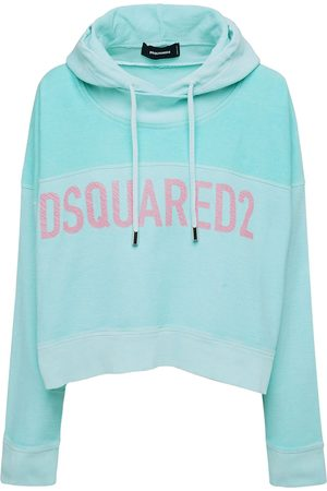 Dsquared2 Two Tone Logo Cotton Jersey Crop Hoodie