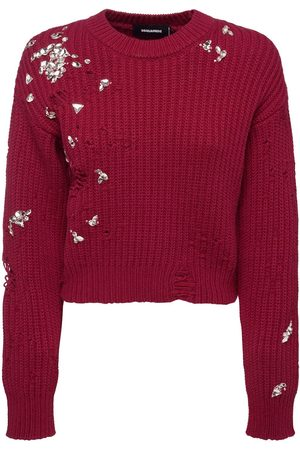 Dsquared2 Embellished Wool Knit Sweater