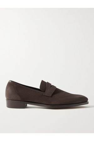 GEORGE CLEVERLEY Men Loafers - George Leather-Trimmed Pebble-Grain Suede Penny Loafers