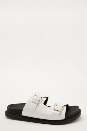 Quiz Faux Leather Buckle Sliders
