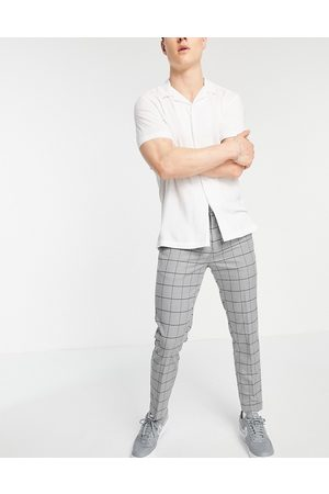 New Look Skinny cropped smart trousers in grid check