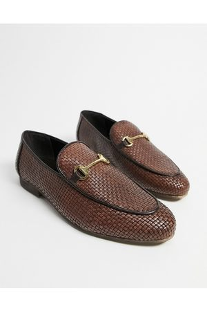 WALK LONDON Jacob woven loafers in tan leather