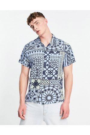Obey Pathos print short sleeve shirt co-ord in blue