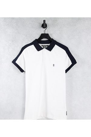French Connection Tall cut 2 polo shirt in and marine