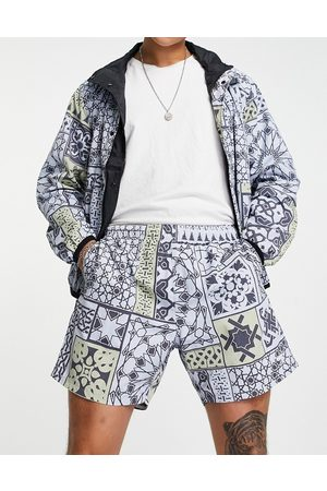 Obey Pathos print shorts co-ord in blue
