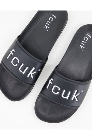 French Connection FCUK sliders in and white