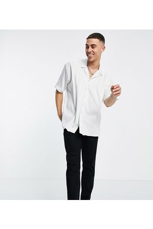 New Look Short sleeve oversized satin shirt in off