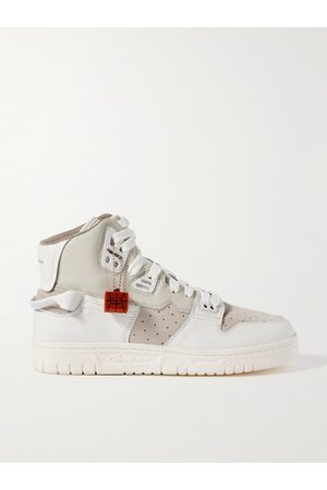 ACNE STUDIOS Buxeda Suede-Trimmed Leather High-Top Sneakers