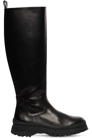 STAUD 35mm Bow Leather Tall Boots