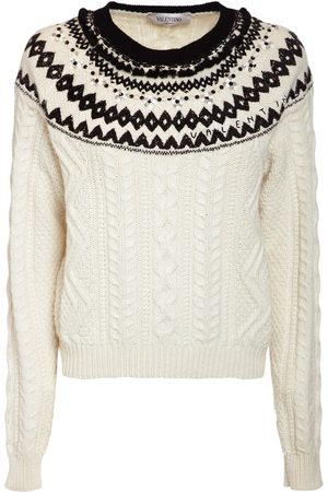 VALENTINO Embroidered Wool Knit Sweater