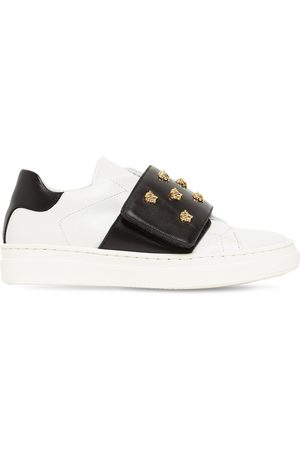VERSACE Embellished Studs Leather Sneakers