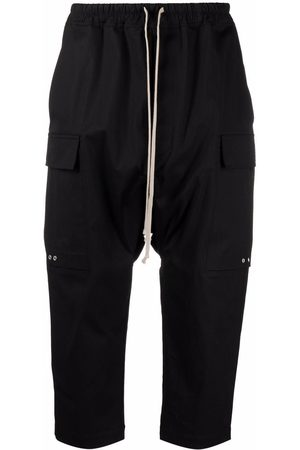 Rick Owens Men Cargo Pants - Dropped-crotch cargo pocket cropped trousers