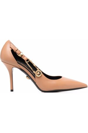 VERSACE Safety-pin pointed leather pumps