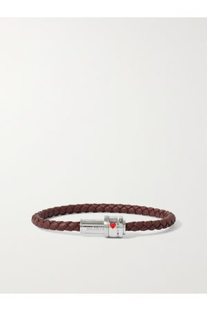 Mont Blanc Meisterstück Woven Leather and Stainless Steel Bracelet